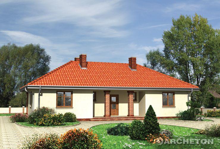Projekt domu Migdał - dom parterowy, z pięknym podcieniem wejściowym