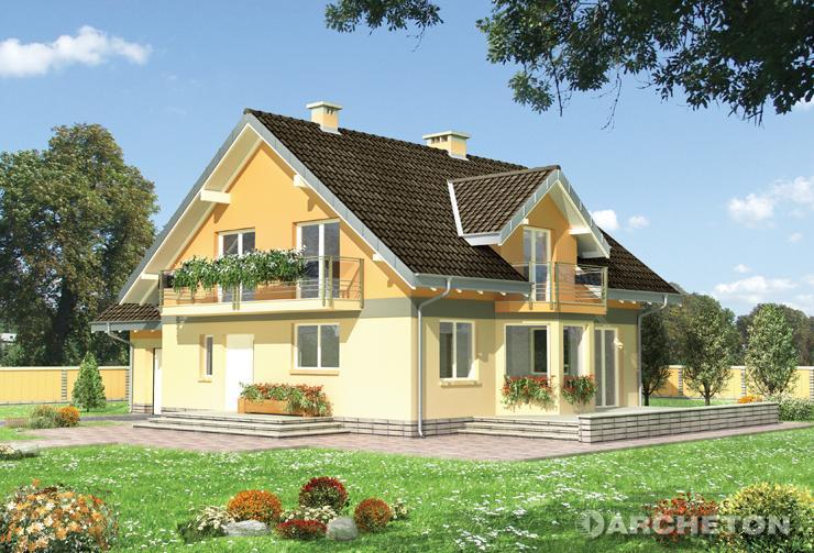 Projekt domu Mikołaj - dom z pokojem hobby i sauną nad garażem