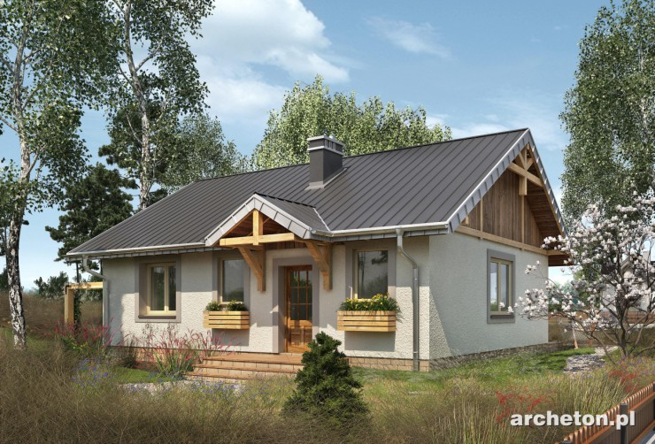 Projekt domu Mikro - malutki domek na planie prostokąta z podcieniem wejścia