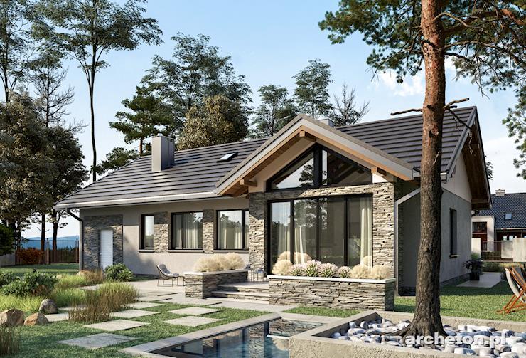 Projekt domu Mikrus - malutki i zgrabny domek parterowy pokryty dachem dwuspadowym