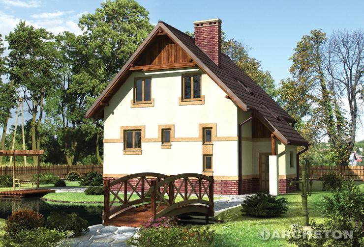 Projekt domu Miłek - domek z zadaszoną sienią wejściową