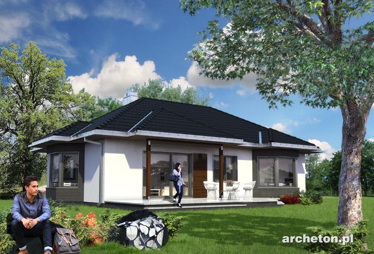 Projekt domu Milena -  dom parterowy, z 3 pokojami i przestronnym salonem