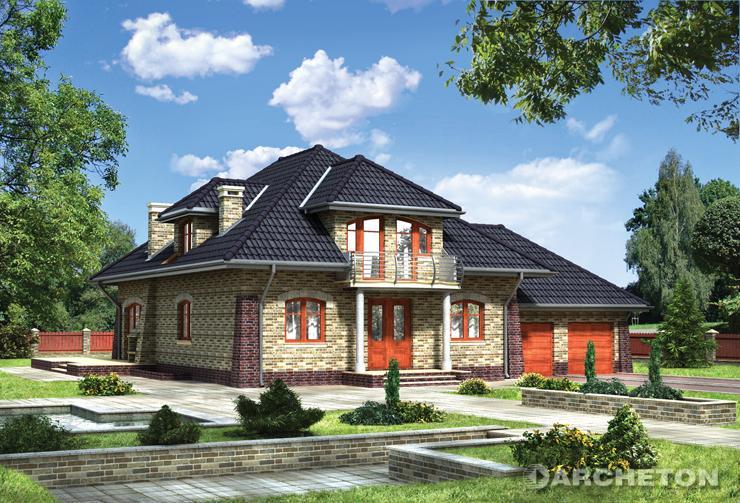 Projekt domu Miłorząb - duży dom z użytkowym poddaszem, z dwustanowiskowym garażem