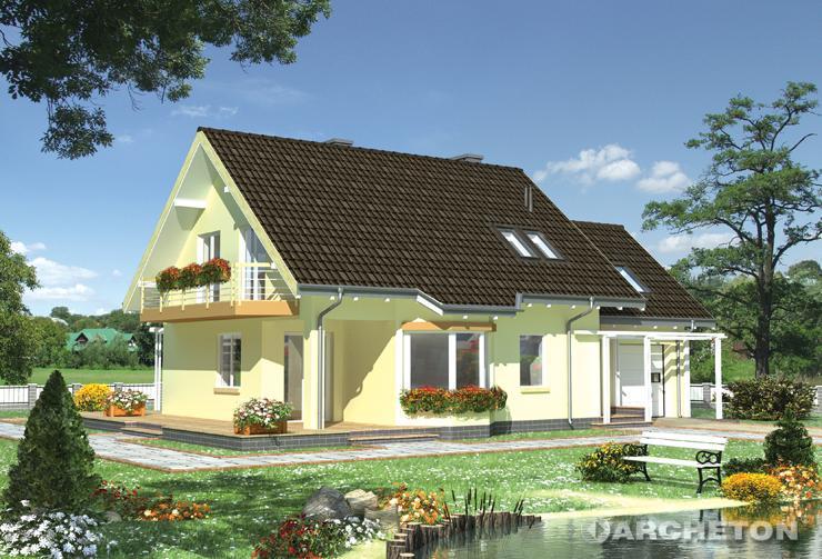 Projekt domu Mira - dom z dużym tarasem i garażem na 1 samochód