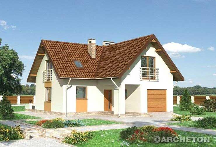 Projekt domu Miriam - dom z doświetloną sypialnią w formie portfenetrów oraz loggią