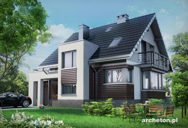 Projekt domu Mirona - dom w nowoczesnej stylistyce, z tarasem nad garażem