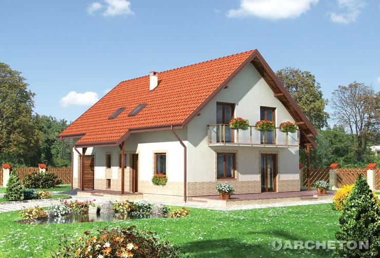 Projekt domu Miś - niewielki dom z wysuniętym tarasem ogrodowym