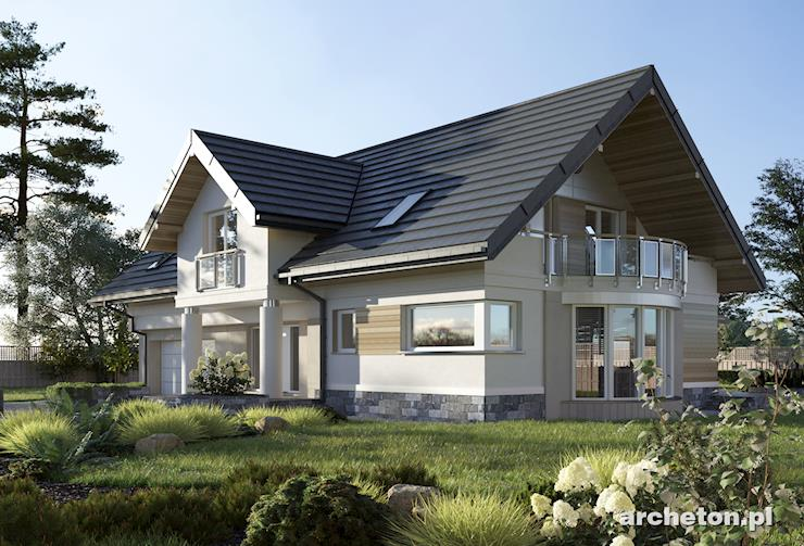 Projekt domu Modesta - rezydencja z pięknymi przeszkleniami, z garażem na dwa samochody