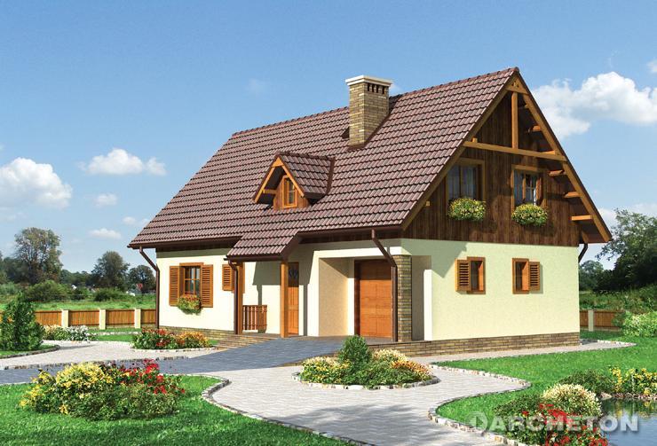 Projekt domu Modrak - dom z kącikiem wypoczynkowym na poddaszu