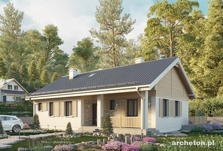 Projekt domu Modrzyk 2 Eko - niewielki, energooszczędny dom parterowy z dużą kotłownią