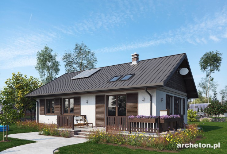 Projekt domu Modrzyk Eko - mały ekologiczny dom z nieużytkowym poddaszem