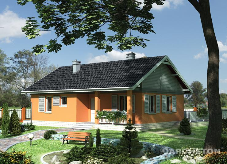 Projekt domu Modrzyk - mały domek parterowy na planie prostokąta, z podcieniem przy wejściu