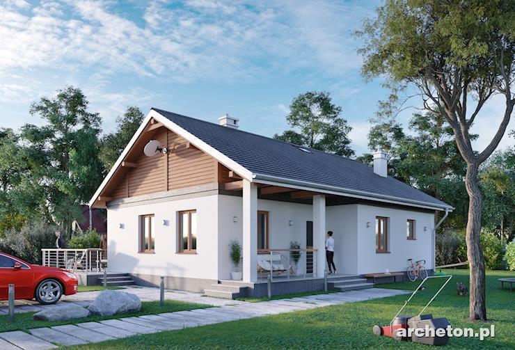 Projekt domu Modrzyk Bis - dom z elewacją wykończoną tynkiem cementowo-wapiennym