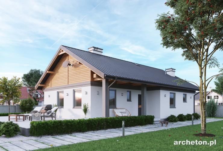 Projekt domu Modrzyk Deo - mały domek parterowy na planie prostokąta