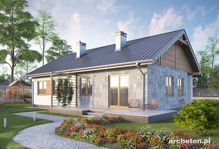 Projekt domu Modrzyk Solis - dom na planie prostokąta z 3 pokojami i dużym salonem