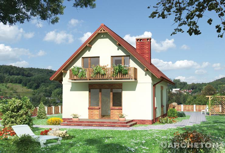 Projekt domu Mrówka - dom z balkonem i tarasem oraz werandą od frontu