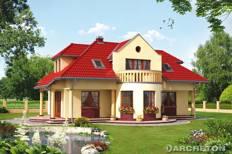 Projekt domu Nefryt - dom z półokrągłym balkonem od strony ogrodu