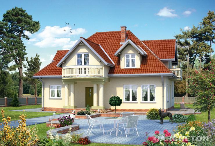 Projekt domu Nikodem - dom z lukarnami oraz półokrągłym balkonem od frontu