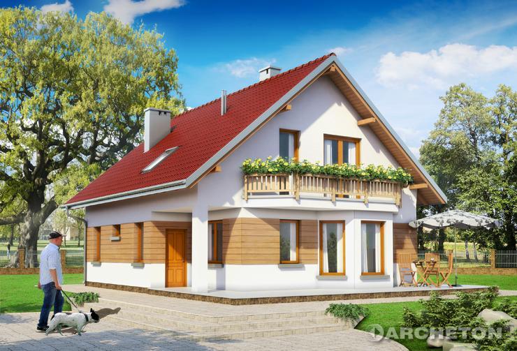 Projekt domu Nina - prosty dom z użytkowym poddaszem, z balkonem