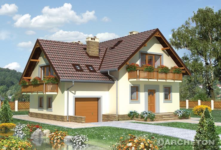 Projekt domu Nowa Koliba - dom z wydzieloną jadalnią i dwoma garderobami na poddaszu