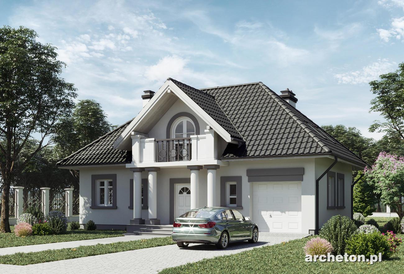 projekt domu nowina rex atrakcyjny dom w stylu dworkowym z balkonem od frontu beton kom rkowy. Black Bedroom Furniture Sets. Home Design Ideas
