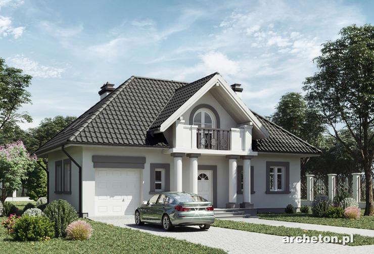 Projekt domu Nowina Rex - atrakcyjny dom w stylu dworkowym, z balkonem od frontu