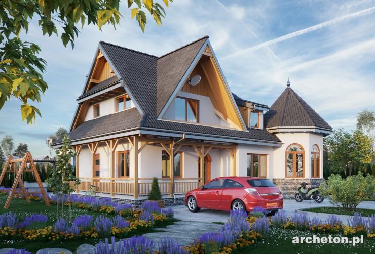 Projekt domu Nowy Zameczek - malowniczy dom w stylu zameczkowym, o interesującym wnętrzu