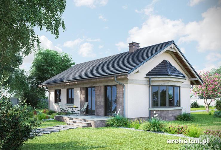 Projekt domu Nuta - mały domek parterowy, z tarasem