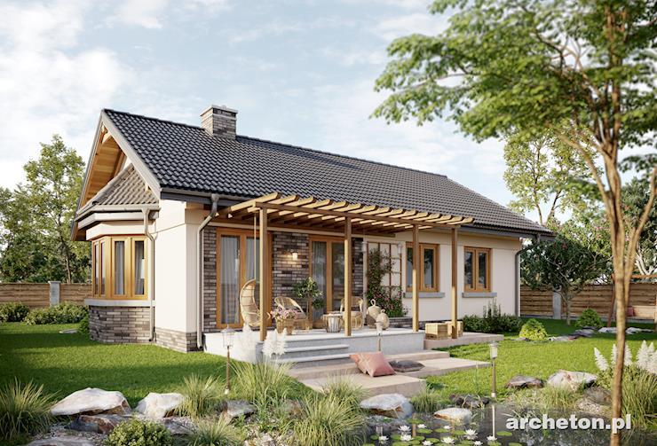 Projekt domu Nuta Karbo - mały dom parterowy, dla 4 osób, z tarasem