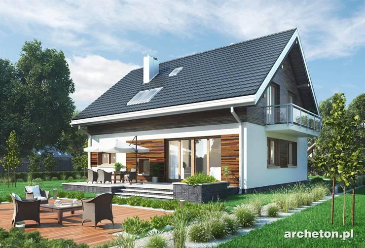 Projekt domu Oberek - tani w budowie dom z użytkowym poddszem o zgrabnej i energooszczędnej bryle