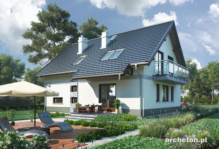 Projekt domu Oberek Polo - dom z wysuniętym zadaszeniem wyjścia na taras