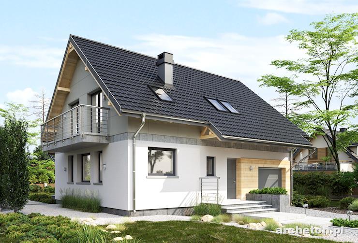 Projekt domu Oberek Rex - mały dom z elewacją z tynku silikonowego oraz mineralnego