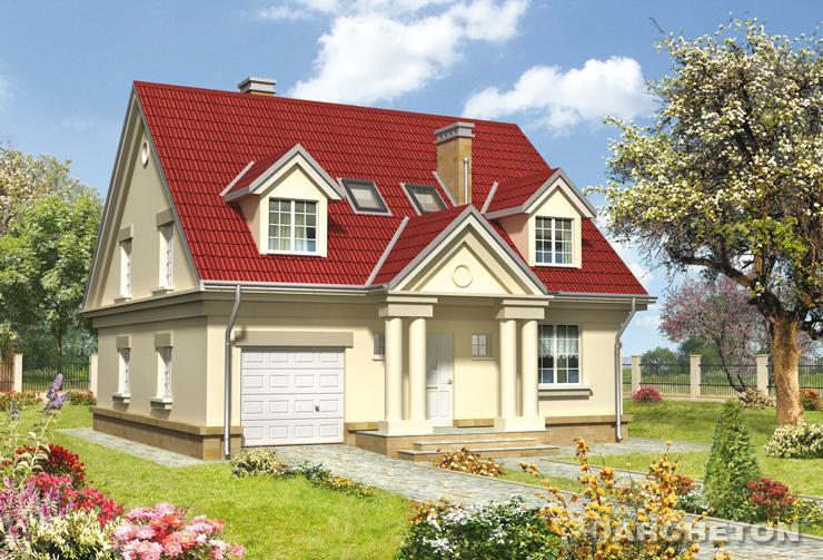 Projekt domu Oksza - dom z portykami wejściowym oraz ogrodowym