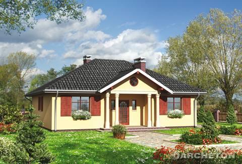 Projekt domu Oleńka - dom z charakterystycznym portykiem wejściowym