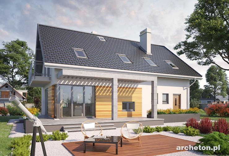 Projekt domu Omega - dom na krótką działkę, o prostej bryle i z nowoczesnymi detalami
