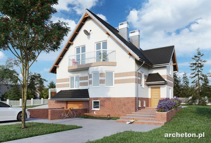 Projekt domu Onyks - dom z garażem, kotłownią i pom. gospodarczym w piwnicy