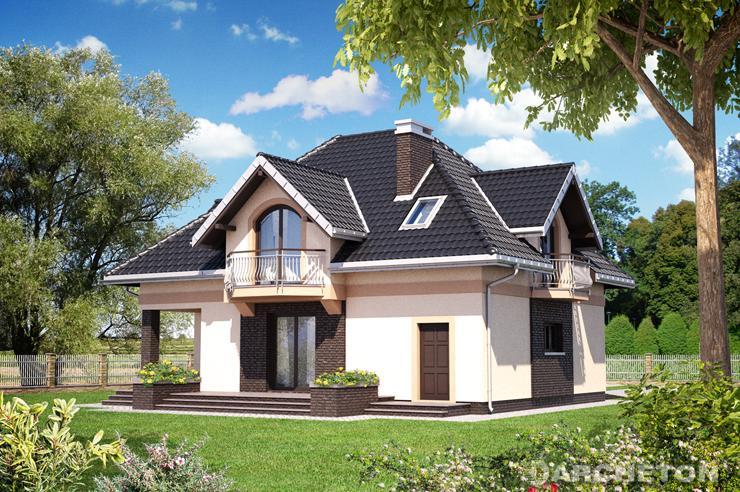 Projekt domu Opus - dom z użytkowym poddaszem z tarasem od strony ogrodu