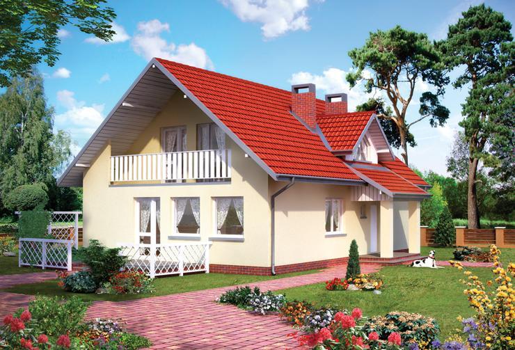Projekt domu Orion - dom z lukarną nad wejściem oraz loggią na poddaszu