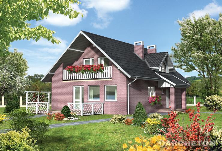 Projekt domu Orion - średniej wielkości dom z zadaszonym balkonem i lukarną nad wejściem