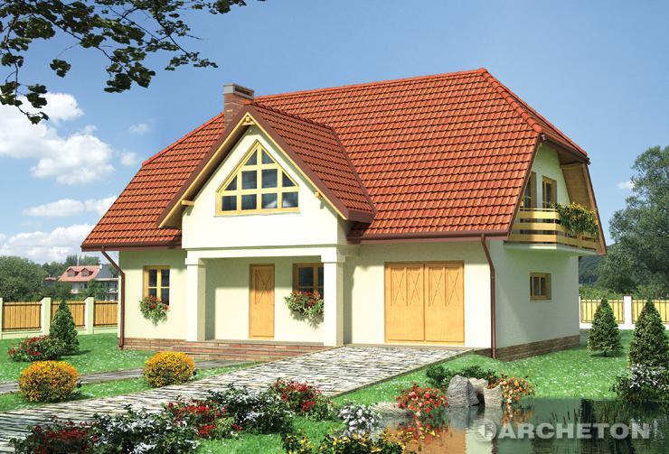 Projekt domu Ostrów - dom z szerokimi balkonami na ścianach szczytowych