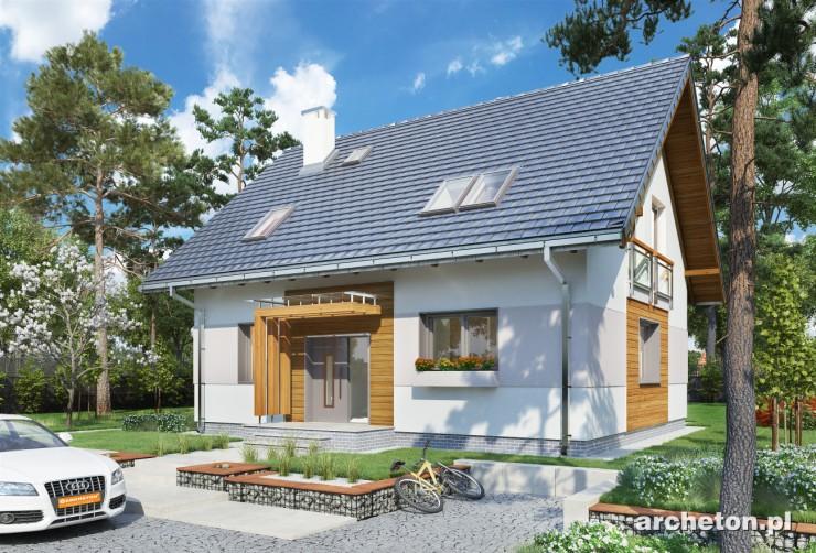 Projekt domu Pączek - dom o prostej bryle, bez garażu, pokryty dachem dwuspadowym