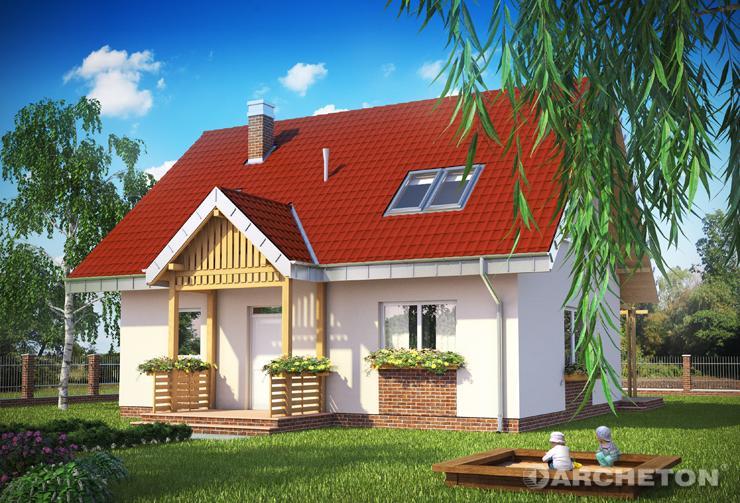 Projekt domu Pączek - dom z drewnianym gankiem