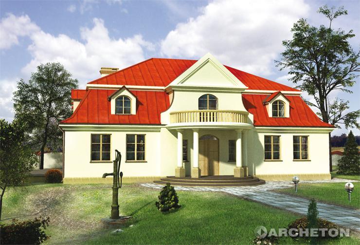 Projekt domu Pałacyk - dom z portykiem kolumnowym na rzucie półokręgu