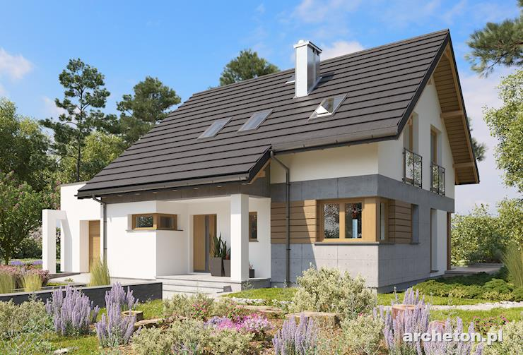 Projekt domu Pamela - dom o nieskomplikowanej bryle budynku, z zadaszonym wejściem