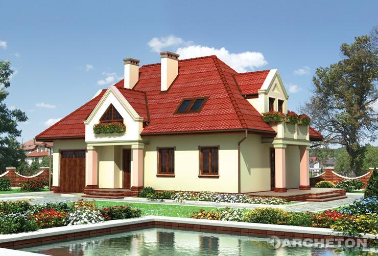 Projekt domu Pankracy - dom z czterospadowym dachem z 4 lukarnami