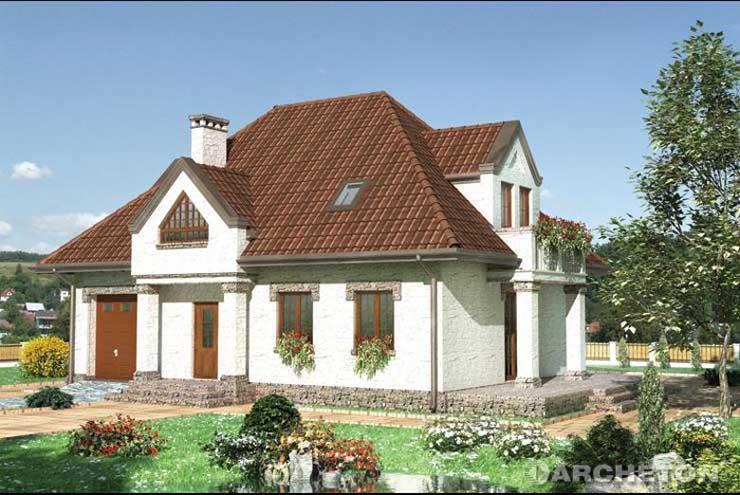 Projekt domu Pankracy-2 - dom z podcieniem wejściowym wspieranym na kolumnach