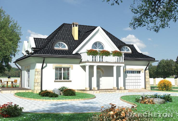 Projekt domu Pan Tadeusz - dom z pom. gospodarczym dostępnym z kuchni i garażu