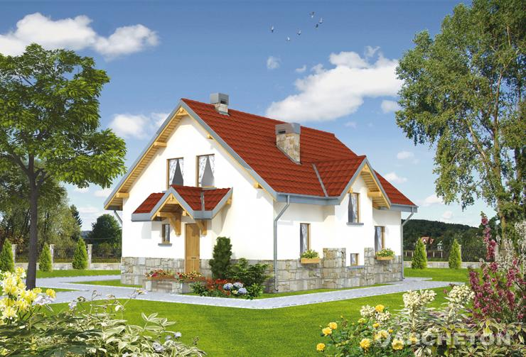 Projekt domu Pasieka - dom z dachem dwuspadowym, z wejściem od ściany szczytowej