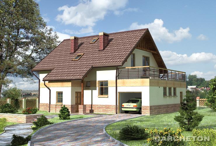 Projekt domu Pasikonik - dom z tarasem nad garażem i z tarasem od strony ogrodu