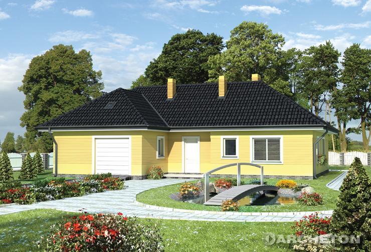 Projekt domu Pasja - dom parterowy, przykryty dachem wielospadowym